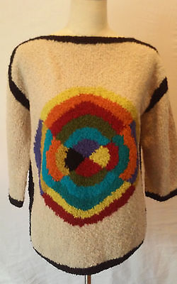Vintage The Broadway Sweater Women's Size M Wool Blend Disco Psychedelic