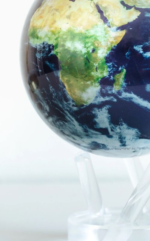 """NEW MOVA Globe - Earth with Clouds 4.5"""" w/ Acrylic Base Included - Auto Rotates"""