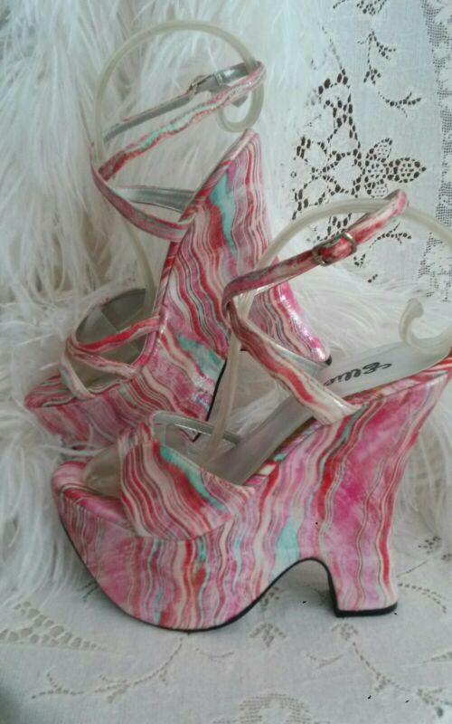 ELLIE PLATFORM SHOE🌸SIZE 7 SANDAL ANKLE WRAP Striated PINK DANCE UNWORN HEEL