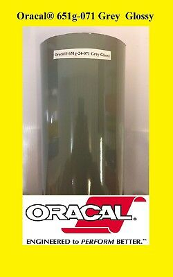 24 X 10 Ft Roll Grey Glossy Oracal 651 Vinyl Adhesive Cutter Plotter Sign 071