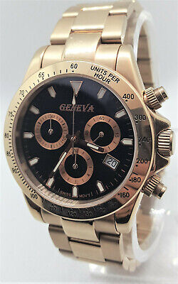 GENEVA $799 MEN'S ROSE GOLD/BLACK CHRONO SAPPHIRE SWISS DATE  SS WATCH 91010901*