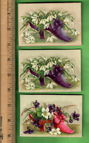 *VICTORIAN TRADE CARDS CHARLES TOLLNER BROOKLYN SHOES FLORAL LOT OF 3*
