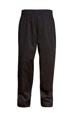 Zipper Chef Pants Unisex Medium Black Pockets Elastic Waist New All Star Uniform