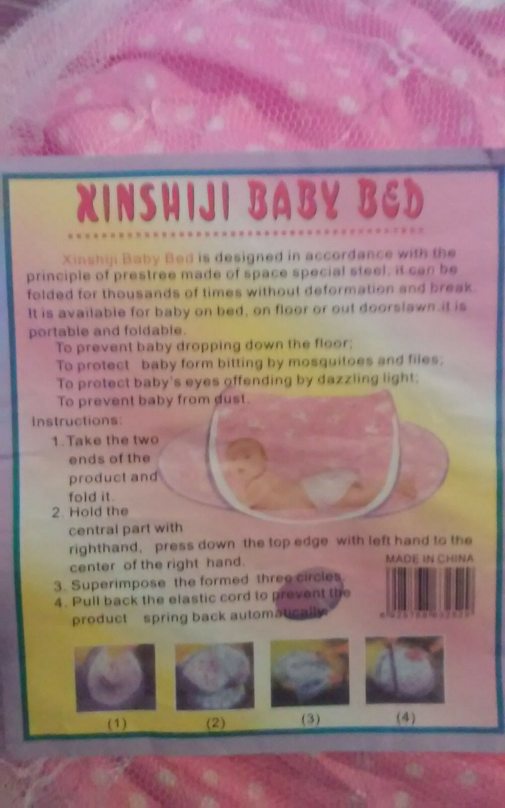 Xinshiji Baby Bed Pink New Protects Baby From Bugs With Mesh Cover Easy To Use - $19.00