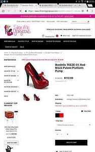 Bordello TEEZE-01 Red-Black Patent Platform Pump AUSz7 Rochedale Brisbane South East Preview