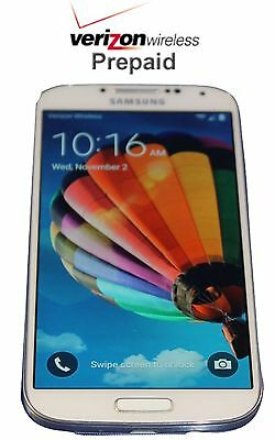 Unlocked Verizon Prepaid Samsung White Galaxy  S4 16GB 4G LTE - No contract