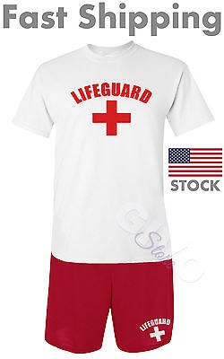 Lifeguard Shirt & Shorts Men's Pool Staff Athletic Lifesaver Halloween Costume - Pool Halloween