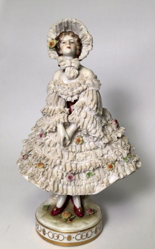 Antique German Dresden Volkstedt Lace Porcelain Figurine