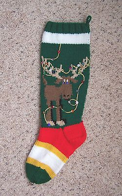NANCY'S HAND KNIT PERSONALIZED CHRISTMAS STOCKINGS SOCKS -  DEER