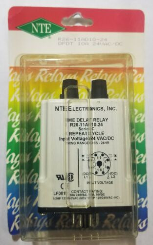 NEW NTE R26-11AD24-24 24 Volt AC/DC Coil, 10A DPDT Repeating Cycle Timer Relay