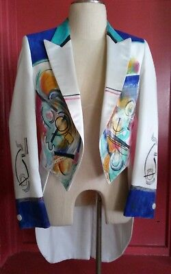 HAND PAINTED TUXEDO Tailcoat 37R Designer Theater Costume Music Jacket Artist