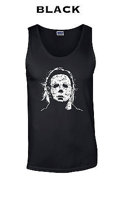 010 Halloween mask Tank Top cool face scary 70s 80s horror scary costume evil - Cool 80s Costumes