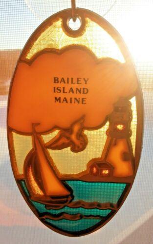 BAILEY ISLAND MAINE VINTAGE SOUVENIR SUNCATCHER LIGHTHOUSE SAILBOAT METAL ENAMEL