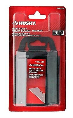 HUSKY Utility Knife Blades 100-Pack Set Heavy Duty USA 667-648