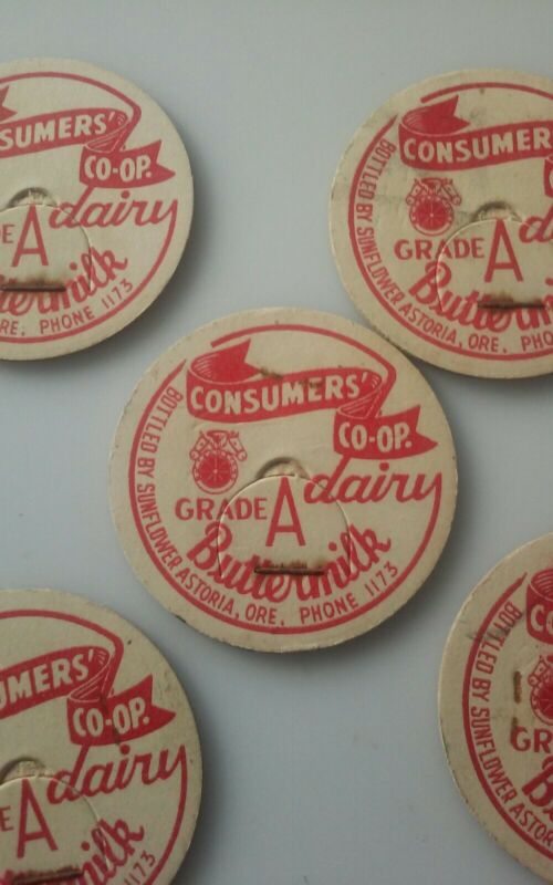 MILK BOTTLE CAP Consumers Co-op Buttermilk DAIRY Sunflower Astoria OR Lot of 5
