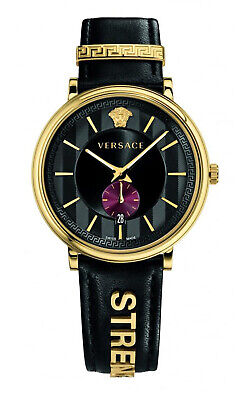 VERSACE VBQ050017 V-Circle 42mm Gold Tone Black Leather Strap Women's Watch