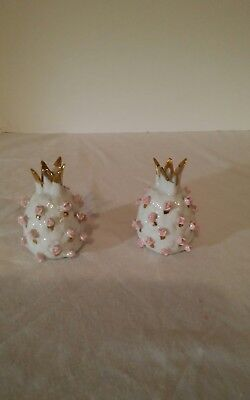 Vintage Lefton Pink Pineapple Salt and Pepper Shakers with Roses