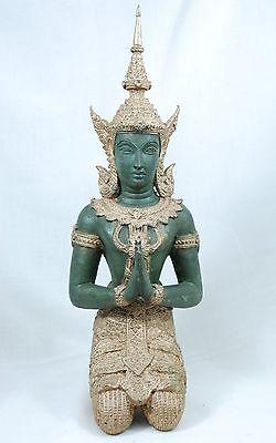 37 cm alte Buddha Figur Skulptur Messing Tempel Thailand Tibet vintage Bronze
