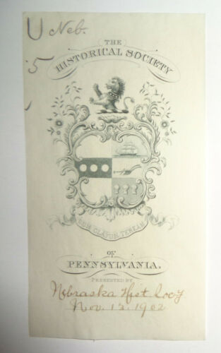 Historical Society of Pennsylvania, Ex Libris Bookplate, 1902.
