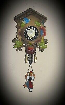 Small Vintage 1-Day GERMAN Black Forest Plastic CUCKOO CLOCK▪GERMANY