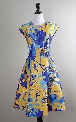 SACHIN & BABI Noir $895 Vibrant Floral Jacquard Beaded Embellished Dress Size 0