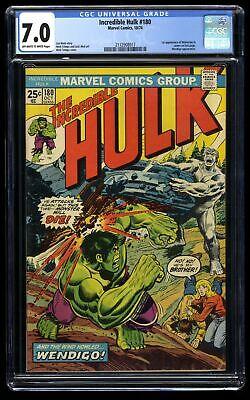 Incredible Hulk (1968) #180 CGC FN/VF 7.0 1st Cameo Wolverine! Marvel Comics