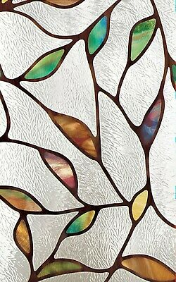 """Cascade Stained Glass Privacy Static Cling Window Film 12"""" x 83"""" Sidelight Decor"""