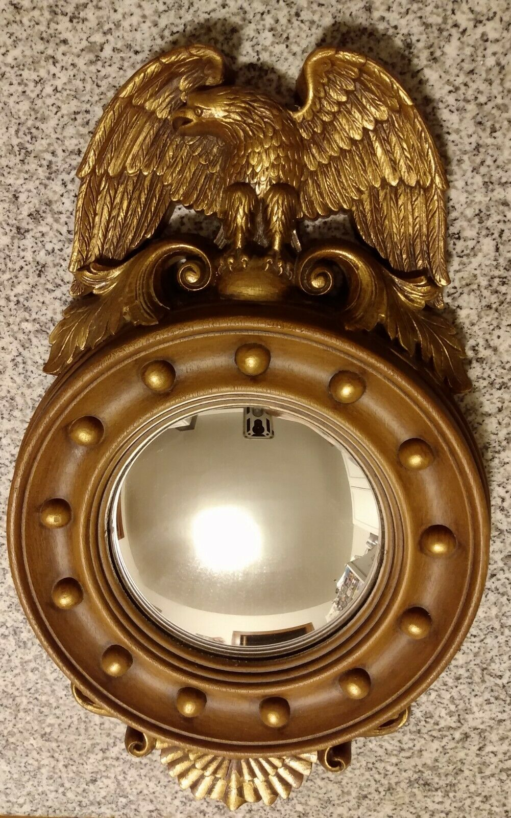 Vintage 1973 Burwood Products Federal Eagle Round Convex Mirror 13 Colonies - $124.99