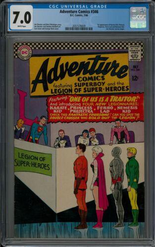 ADVENTURE COMICS #346 CGC 7.0 (7/66) DC COMICS white pages