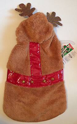 Wag-A-Tude Fuzzy REINDEER Dog Hoodie Large Petco Jacket With Rudolf Bells - New for sale  Newberg