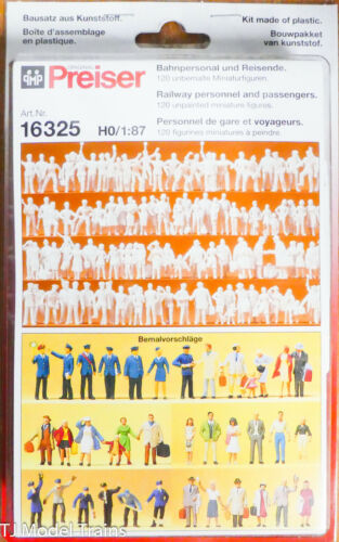 Preiser HO #16325 Unpainted Figure Set - Railroad Personnel & Travelers pkg(120)