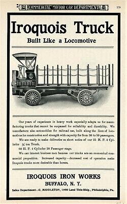 1906 Rare Vintage Original IROQUOIS TRUCK Ad. Iroquois Iron Works, Buffalo, NY