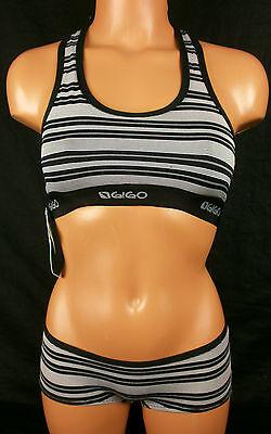 Bra Boy Short Set - Gigo Womens Grafito Pattern Stripe Sports Bra & Boy Short Set Med NWT #2461IM
