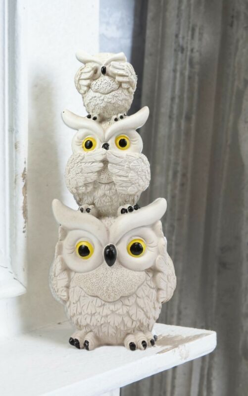 Cream Colored Stacked See Hear Speak No Evil Wise Fat Owls Figurine Owl Decor