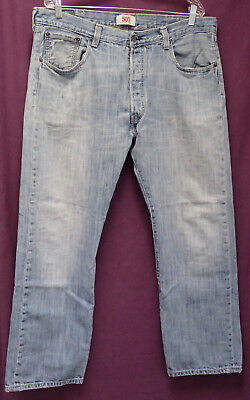 Worn Jeans Button Fly Jeans - WORN LEVIS 501 BUTTON FLY sz 38 x 30 PATCHED BLUE JEANS meas 37