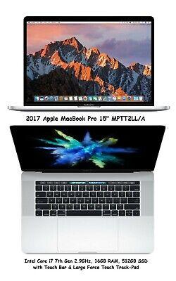 "Apple MacBook Pro 15"" 2017 Core i7 2.9GHz 16GB RAM 512GB SSD Touch Bar MPTT2LL/A"