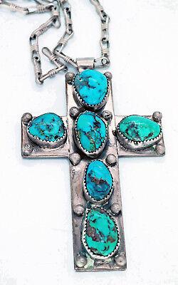 Handmade Turquoise Necklace (Vintage Navajo Turquoise Necklace Sterling Silver Cross Handmade)