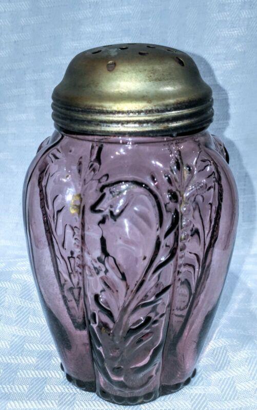 Antique Victorian Northwood Amythest glass panel Sprig sugar shaker Muffineer
