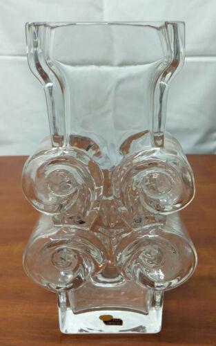 Skruf Swedish LARS HELLSTEN Signed Mid Century Modern Art Glass ABSTRACT 10 VASE