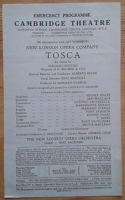 Tosca Emergency Programme New London Opera Company at Cambridge Theatre