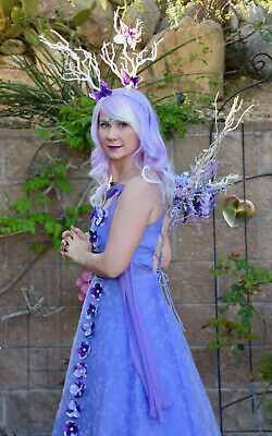 WOMEN LAVENDER FAIRY DRESS COSTUME SIZE M 7/8 WIG CROWN HEADDRESS PURPLE FANTASY - Fairy Costumes Women