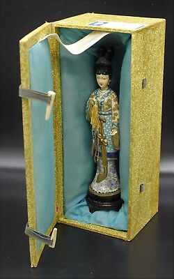 "Vintage People's Republic of China Chinese Cloisonne Woman 9"" Statue Figurine"