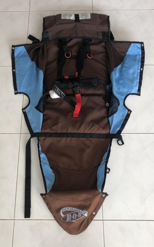 BOB Revolution Single Jogger Stroller FABRIC SEAT Cloth - Brown Blue Used 2009