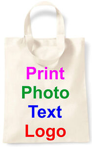 PERSONALISED TOTE SMALL COTTON BAG PHOTO TEXT LOGO STAG HEN PARTY KEEPSAKE GIFT