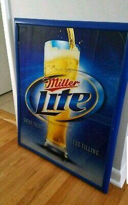 Miller Lite beer sign mirror reflective plaque framed wall display bar pub -
