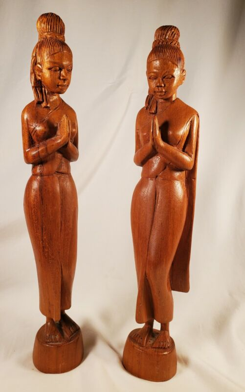 Morning Prayers, 2 Thailand Women Carved Wooden Figures, Simply Done, Peaceful.