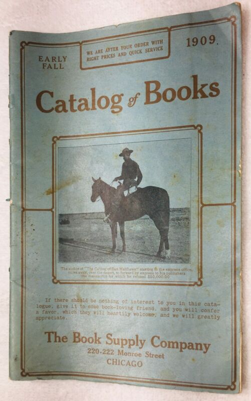 """Vintage 1909 """"CATALOG of BOOKS"""" -THE Book Supply CO. ILLUSTRATED CATALOG Chicago"""