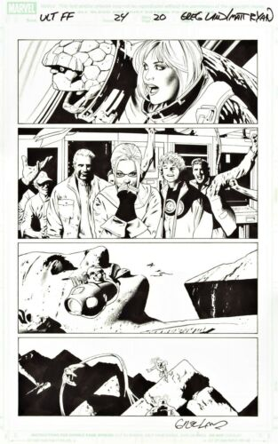 GREG LAND SIGNED 2006 ULT. FANTASTIC FOUR ORIGINAL ART-BEN, SUE, JOHNNY, MARY!