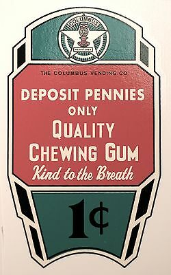 COLUMBUS, QUALITY CHEWING GUM, GREEN ONE CENT. WATER SLIDE DECAL # DC 1031