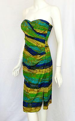 VLV! KAMEHAMEHA Hawaiian VTG 50s PIN-UP SARONG DRESS  S M Bombshell Wiggle Boned